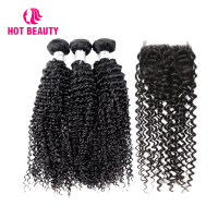 Hot Beauty Hair Curly Bundles with Closure 4 PCS Brazilian Remy Human Hair Weave Extension 3 Bundles with Swiss Lace Closure