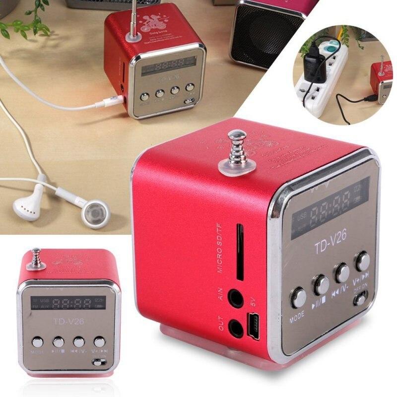 TD-V26 Mini altavoz inalámbrico portátil Micro SD/TF Card Player altavoz con FM Radio receptor pantalla LED 6 colores