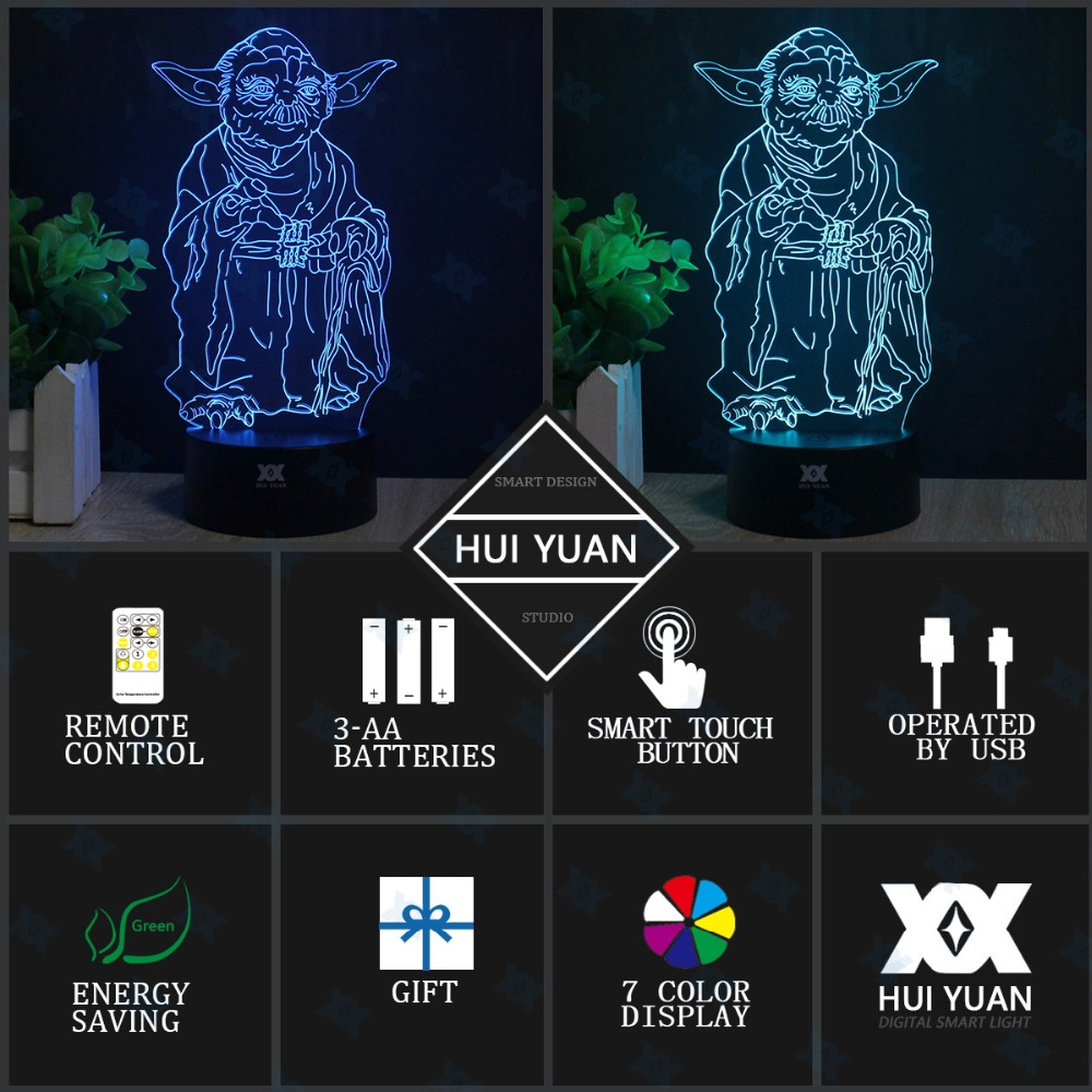 Master Yoda 3D Lamp Remote Control Night Light LED Decorative Table - Night Lights - Photo 4