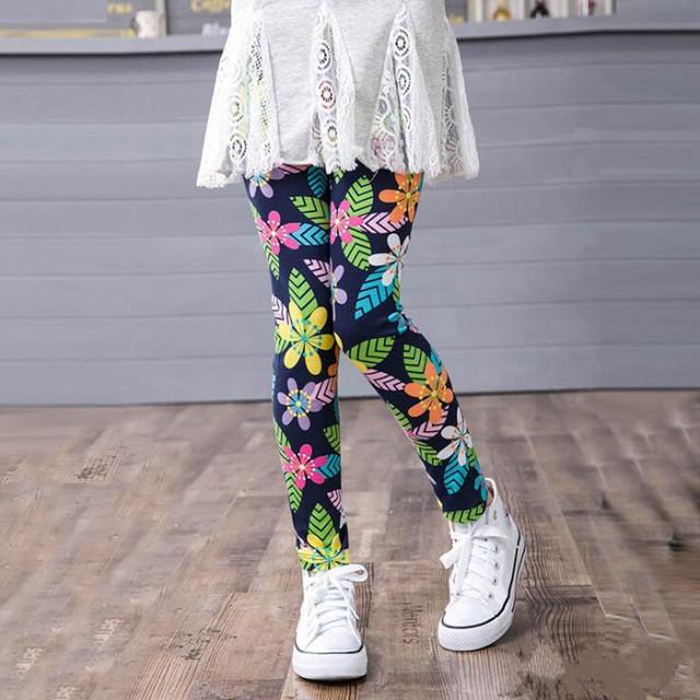 Spring Summer Girls Leggings Baby Children Leggings Flower Print Toddler Classic Long Pants Kids Baby Leggings 2-11Y