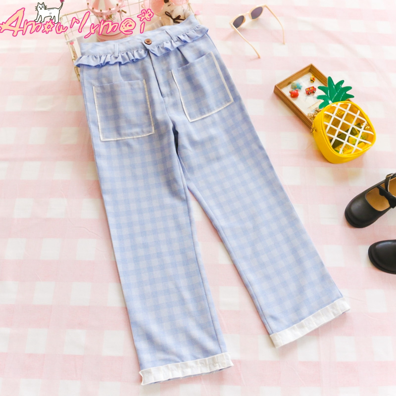 2019 Spring Summer Women Sweet Ruffles High Waist Casual Loose Plaid Straight   Pants     Capris   Cute Japanese Style Mori Girl Lolita