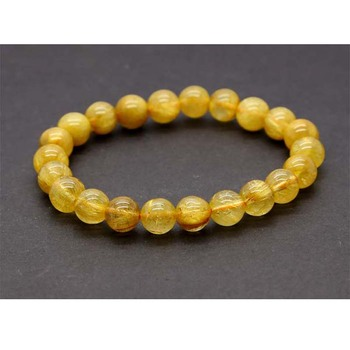 Discount Wholesale Natural Genuine Yellow Gold Needle Rutile Quartz Finished Stretch Bracelet Round Jewelry beads 8mm