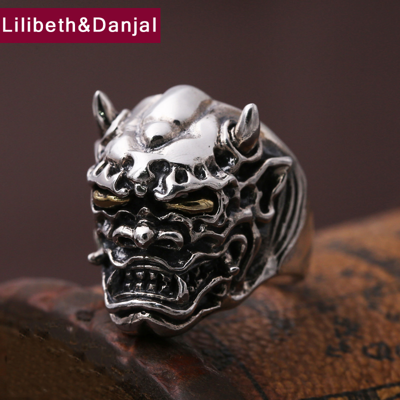 Men Opening ring 100 Real 925 sterling silver Punk Rock Prajna masks devil Christmas Gift Adjustable