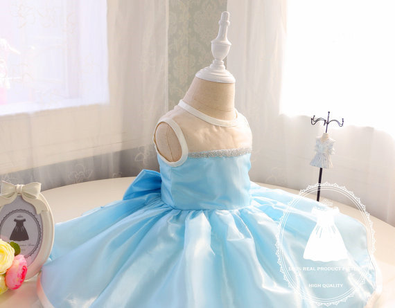 2017 sky blue baby 1st birthday party outfits sheer neck sparkly beaded toddler pageant dress with bow sweet Princess dresses