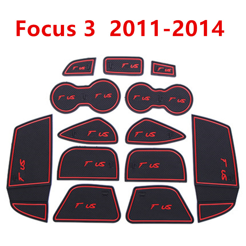 Anti-Slip Gate Slot Mat Rubber Coaster For Ford Focus 3 MK3 2011-2014 Pre-facelift ST RS Accessories Car Stickers 13Pc