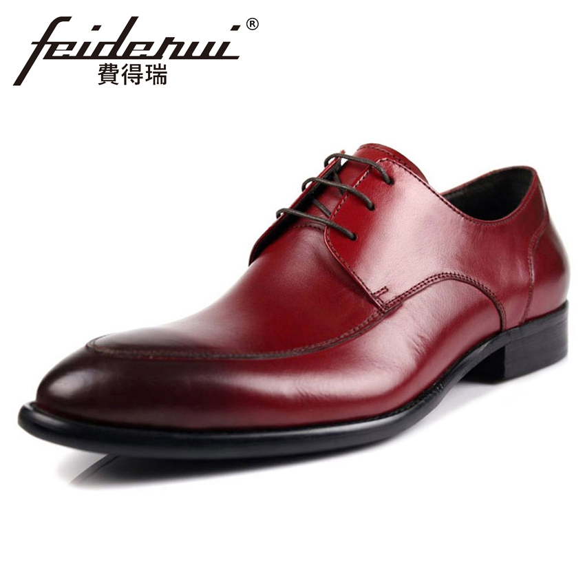 New Vintage Genuine Leather Handmade Men's Office Footwear Round Toe Lace-up Derby Man Formal Dress Wedding Party Shoes YMX258 elanrom summer men formal derby wedding dress shoes cow genuine leather lace up round toe latex height increasing 30mm massage