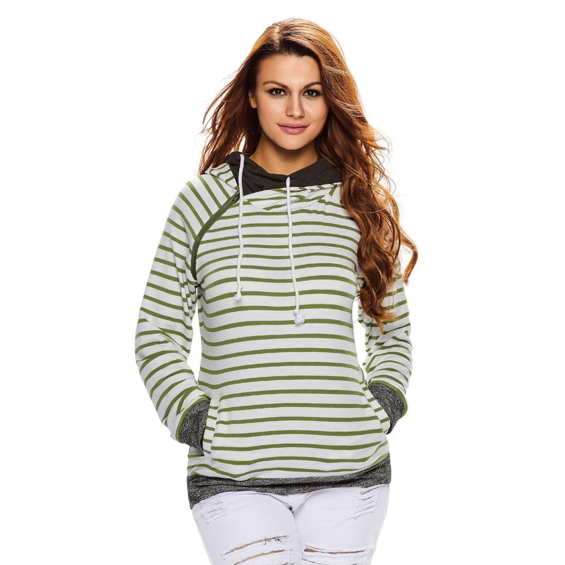 YJSFG HOUSE Sexy Women Coat Zipper Long Sleeve Hoodie Jumper Pullover Sweatshirt Pocket Shirt Striped Autumn Outwear Jacket Home