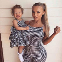 314eee34a32 Mother Daughter Romper Clothes Parent-child Plaid Dress Family Matching  Outfits