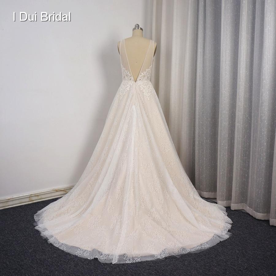 Tiefen V Sexy Brautkleider Low Vorder-und Rückseite Perle Kristall ...