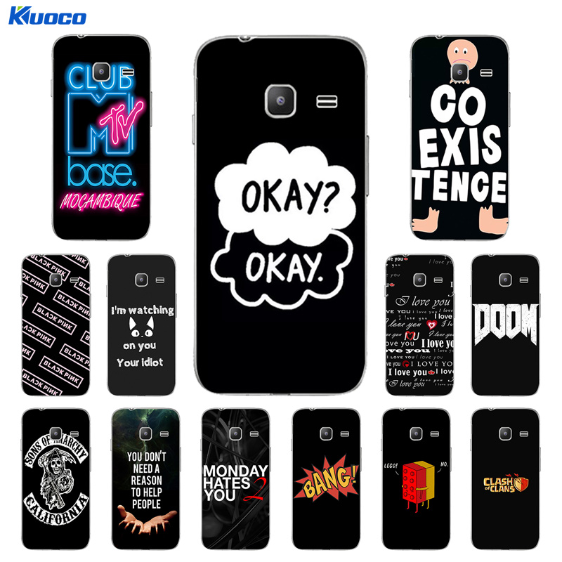 TPU Case for Samsung Galaxy J1 Mini Cover J105 J105H Silicon Phone Case Black Letters Printing for J1 mini J1 Nxt Duos Shell