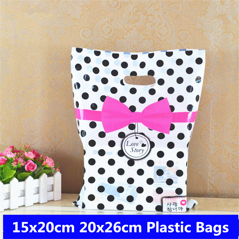 10pcs 15x20 20x26 Gift Bags Handles Plastic Bag For Clothes Storage Bag Party Supplies Shopping Bag Packaging Wedding Decoration