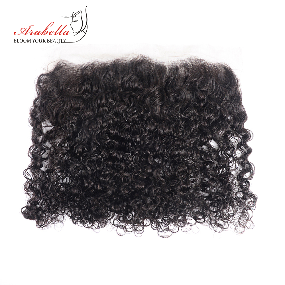 Curly Hair Bundles With Frontal 100%  Arabella  Hair Natural Color Pre Plucked 13*4 Lace Frontal With Bundles 5
