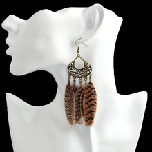 Vintage Indian Brown Feather Drop Earrings Gold Geometry Dangles Earrings For Women Girl Bohemia Jewelry for wedding party Gift