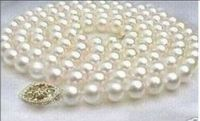 35inch AAA AKOYA 9 10MM WHITE PEARL NECKLACE 925silver GOLD CLASP