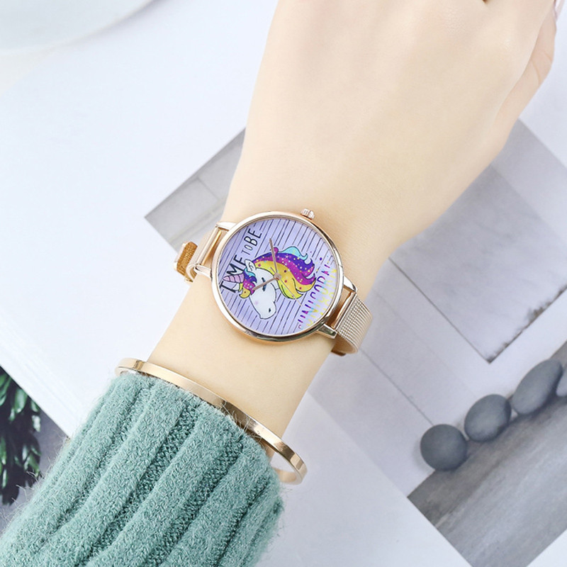 Women Watch Luxury Brand Stainless Steel Unicorn Patterned Business Quartz Sport Wrist Watch Hour Female Clock Relogio