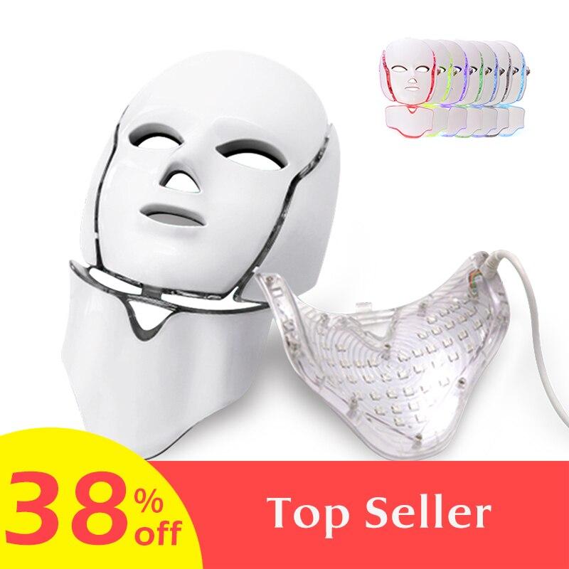 7 farben Licht LED Gesichts Maske Mit Hals Haut Verjüngung Gesicht Pflege Behandlung Schönheit Anti Akne Therapie Bleaching Instrument