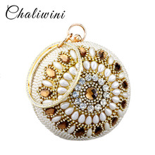 Chaliwini New fashion gold shape bowling shoulder bags siliver diamond  pearl beaded ball wristlets women pouch evening bag