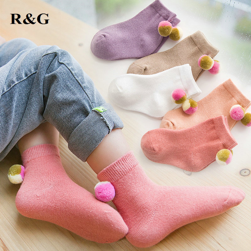 1 pair kids socks soft cotton soft warm color lovely socks for girls children winter spring new 2018-18063