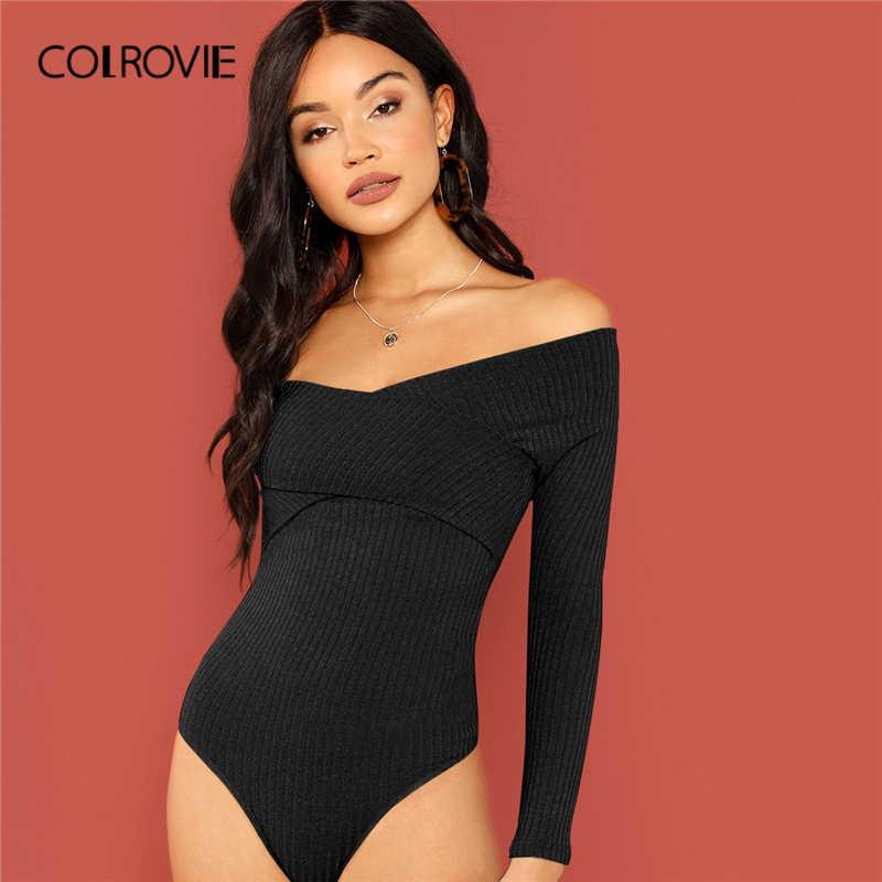 COLROVIE черный с открытыми плечами обёртывать накрест вязать обтягивающие Сексуальные вечерние Боди женские 2019 весенние элегантные женские комбинезоны с длинными рукавами