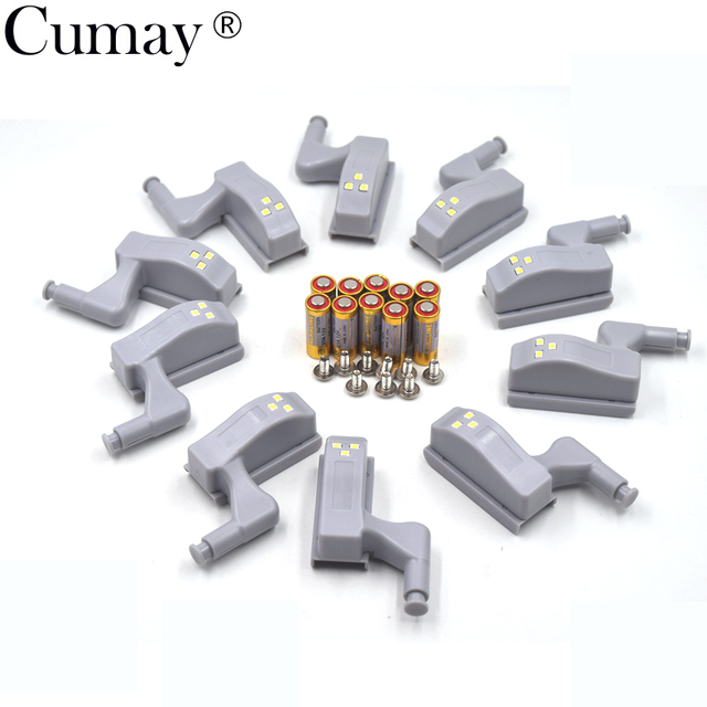 10pcs Universal Cabinet Cupboard Hinge White LED Light Wardrobe System Modern Home Kitchen Autoswitch Night Lamp Grey