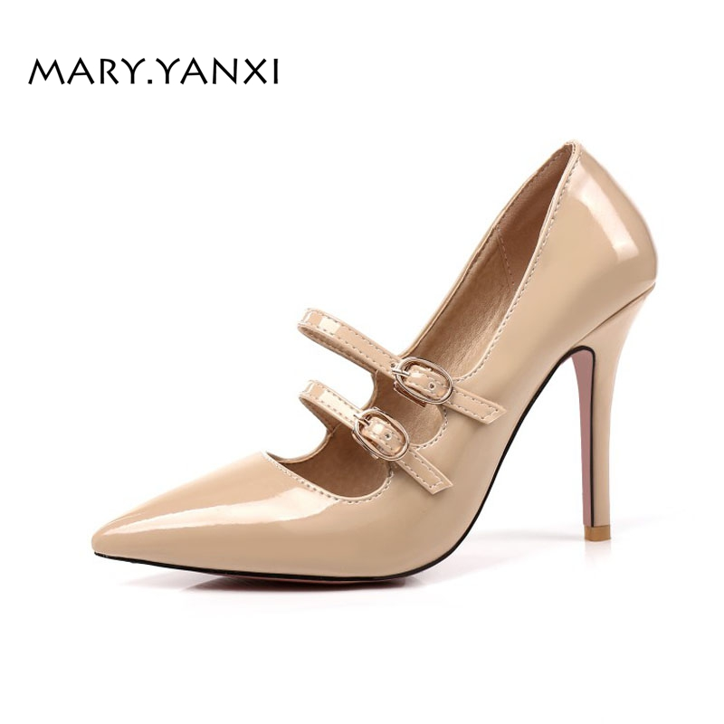 Spring/Autumn Women Pumps Big Size Lazy Shoes Patent Leather Mary Janes High Heel Pointed Toe Fashion Party Shallow Buckle Strap new spring fashion brand genuine leather sweet classic high heels women pumps shallow thick heel mary janes lady causal shoes