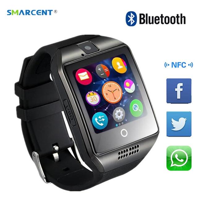 aefa223bfa2 Q18 Bluetooth Relógio Inteligente com Câmera Whatsapp Facebook Twitter Sync  SMS Apoio Cartão TF SIM Para