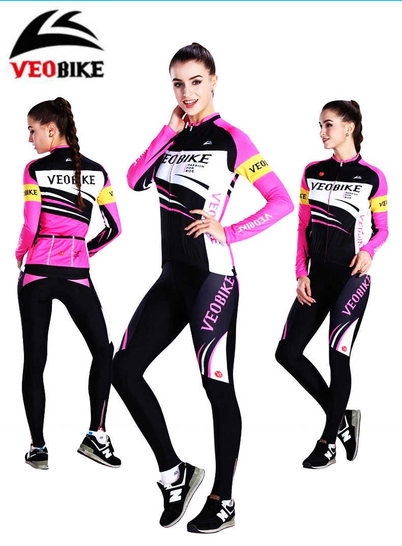 VEOBIKE Women fleece cycling suits bike jerseys jackets shorts Autumn Winter warm cycling sets BTM Bicycle Clothing veobike breathable long sleeve cycling sets spring autumn mtb bicycle cycling suits bike jersey shorts sets cycling clothing