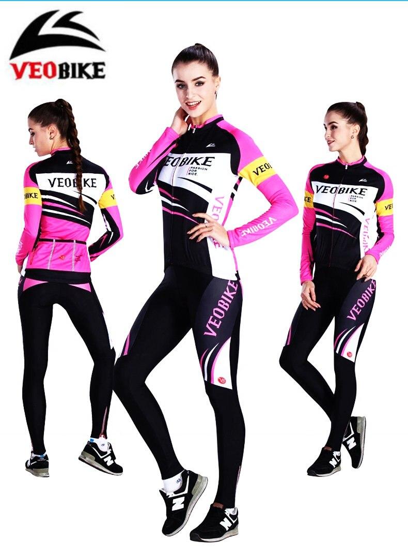 VEOBIKE Women fleece cycling suits bike jerseys jackets shorts Autumn Winter warm cycling sets BTM Bicycle Clothing tasdan women s cycling jersey sets bike wear bicycle cycling clothings jerseys shorts mtb shorts sports clothing sets suits