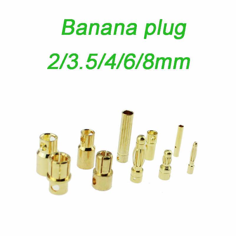 20 pares o 10 pares 2mm 3,5mm 4mm 6mm 8mm bala de plátano conector macho hembra para batería RC parte ORO PlatedARE4