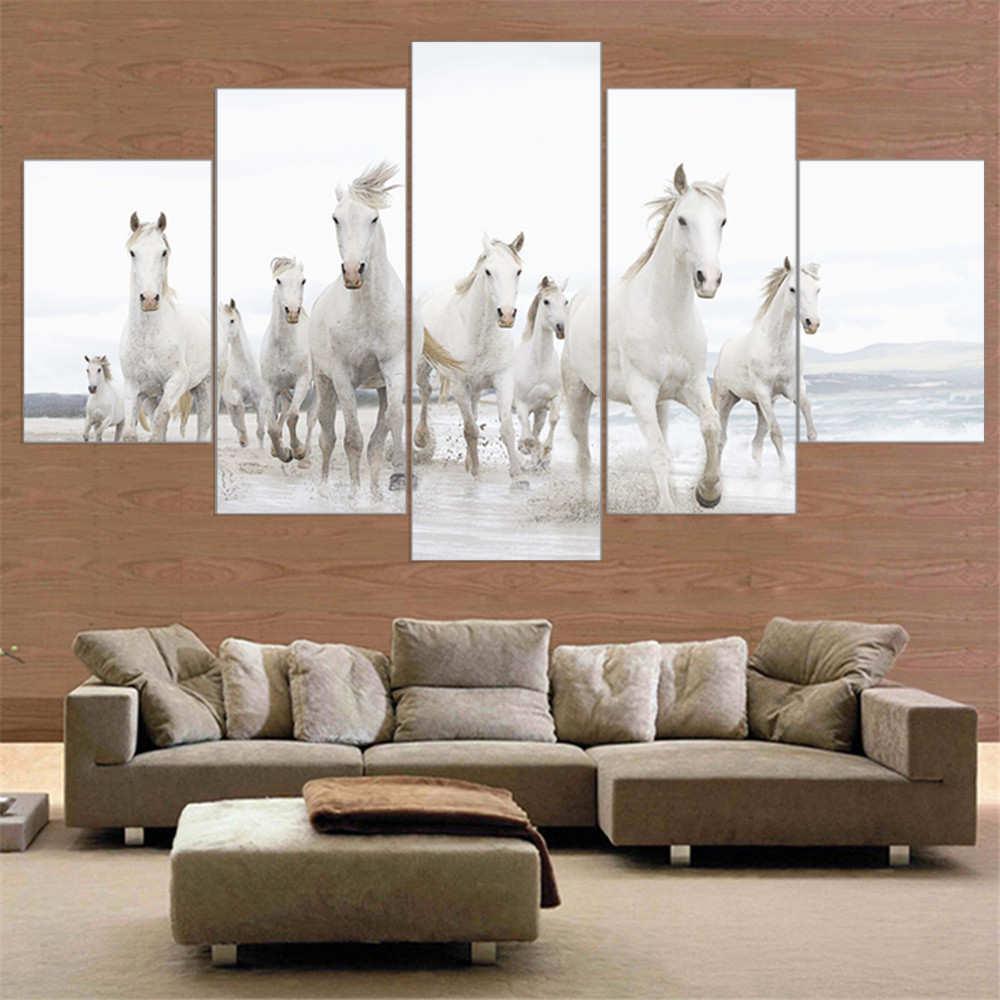 Horse sticker wall art - Unframed Modern Horse Running In Sea Canvas Painting Animal Hd A4 Print Poster Wall Sticker Oil Picture Home Decoration 5pcs