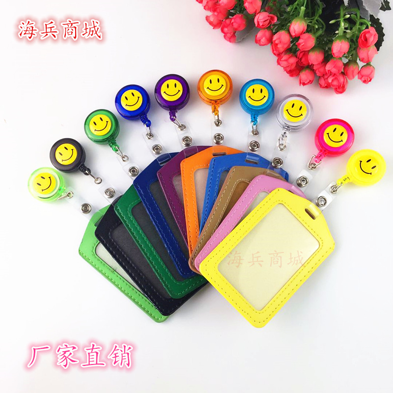 1Pcs Smiley Face Retractable Badge Reel High Quality  Student Nurse Exihibiton ID Name Card Badge Holder Office Supplies