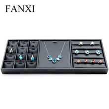 FANXI Free Shipping Functional Black PU Leather Jewelry Display Combination Tray Rings Necklace Pendants Collection Showcase