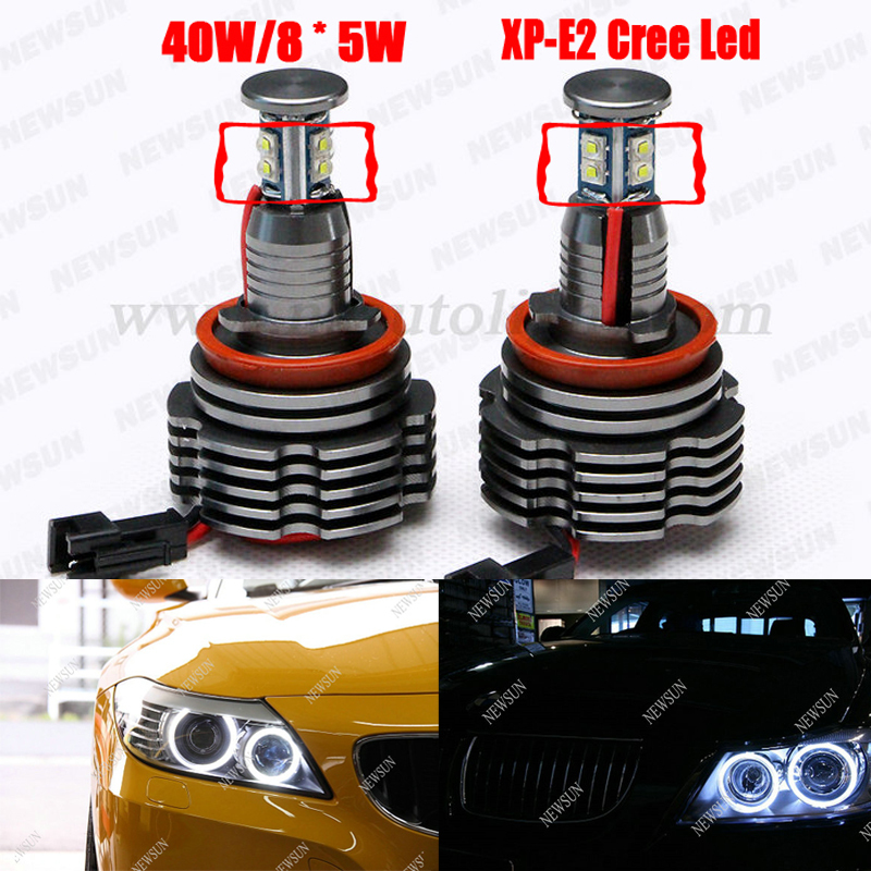 2016 New 40W H8 Cree chip LED Angel Eyes Auto Lamp for BMW E87 E82 E92 E93 E70 E71 E90 E91 E60 E61 E63 E64 LED Marker halo Light h8 20w cree angel eyes led marker light drl for bmw e82 e87 e90 e91 e92 m3 e93 e60 e61 e63 e64 e70 x5 e71 x6 e89 z4 king deluxe