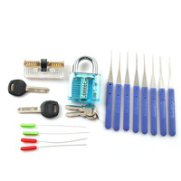 Locksmith Practice Tool Set 1Pcs Transparent Padlock 1PCS Lock 12PCS Broken Key Extractor Tools