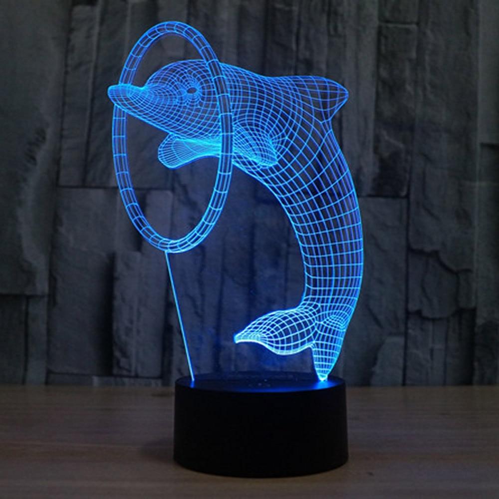 Симпатичные Дельфин 3D ночник kinderschoenen Met LED <font><b>verlichting</b></font> лампе detecteur де MOU