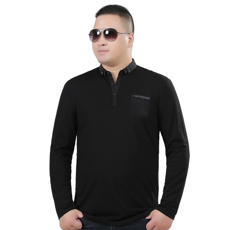 XL Spring Most Code Man Pity Increase Fertilizer Enlarge Lapel Business Affairs Leisure Time Small Unlined Upper The Fat T-shirt
