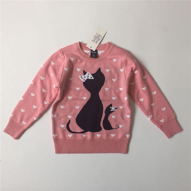 Niños otoño invierno suéter patrón de géneros de punto de los bebés de dibujos animados negro cat 100% jersey de algodón para niños ropa ...