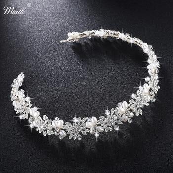 Miallo Luxury Clear Crystal Bridal Hair Vine Pearls Wedding Hair Jewelry Accessories Headpiece Women Crowns Pageant HS-J4506