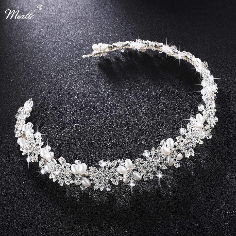 Miallo Luxury Clear Crystal Bridal Hair Vine Pearls Wedding Hair Jewelry Accessories Headpiece Women Crowns Pageant HS-J4506