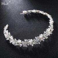 Miallo Luxury Clear Crystal Bridal Hair Vine Pearl Wedding Hair Vine Accessories Headpiece Bridal Crowns Pageant