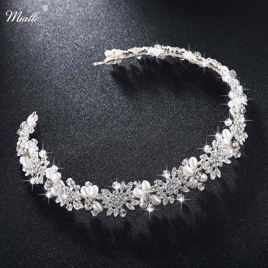 us $10.39 20% off miallo luxury clear crystal bridal hair vine pearls wedding hair jewelry accessories headpiece women crowns pageant hs j4506-in hair