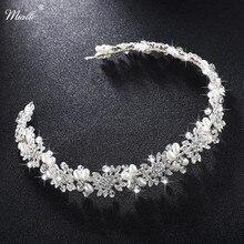 ФОТО miallo luxury clear crystal bridal hair vine pearl wedding hair vine accessories headpiece bridal crowns pageant hs-j4506
