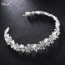 Miallo Luxury Clear Crystal Bridal Hair Vine Pearls Wedding Hair Jewelry Accessories Headpiece Women Crowns Pageant HS-J4506(China)