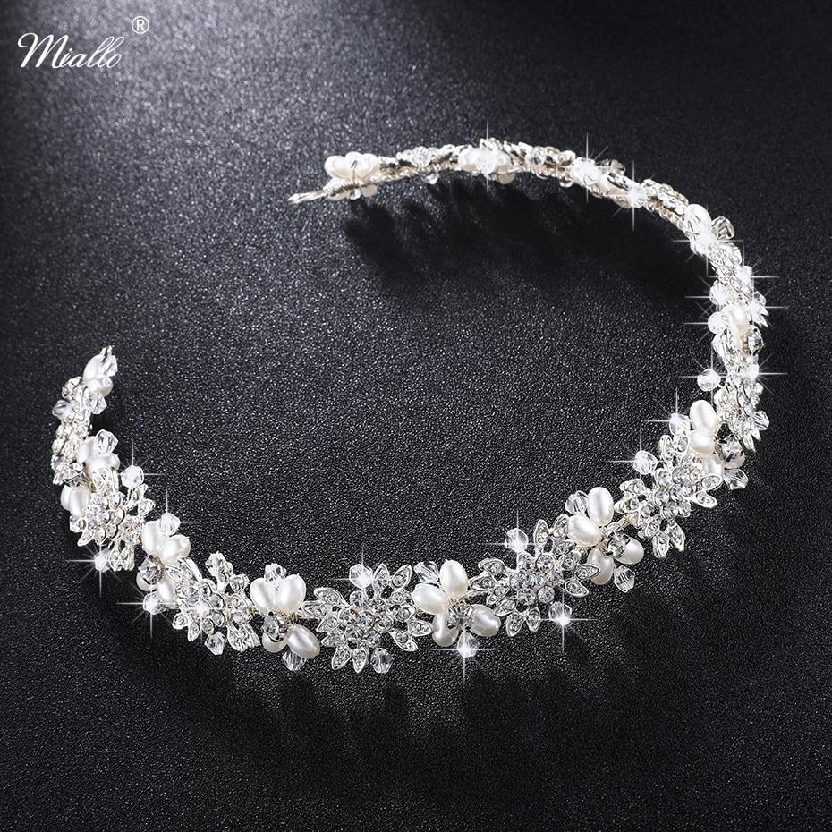 Miallo de lujo de cristal transparente de novia enredadera para el cabello perlas boda accesorios de joyas para el pelo diadema mujer coronas de concursos HS-J4506