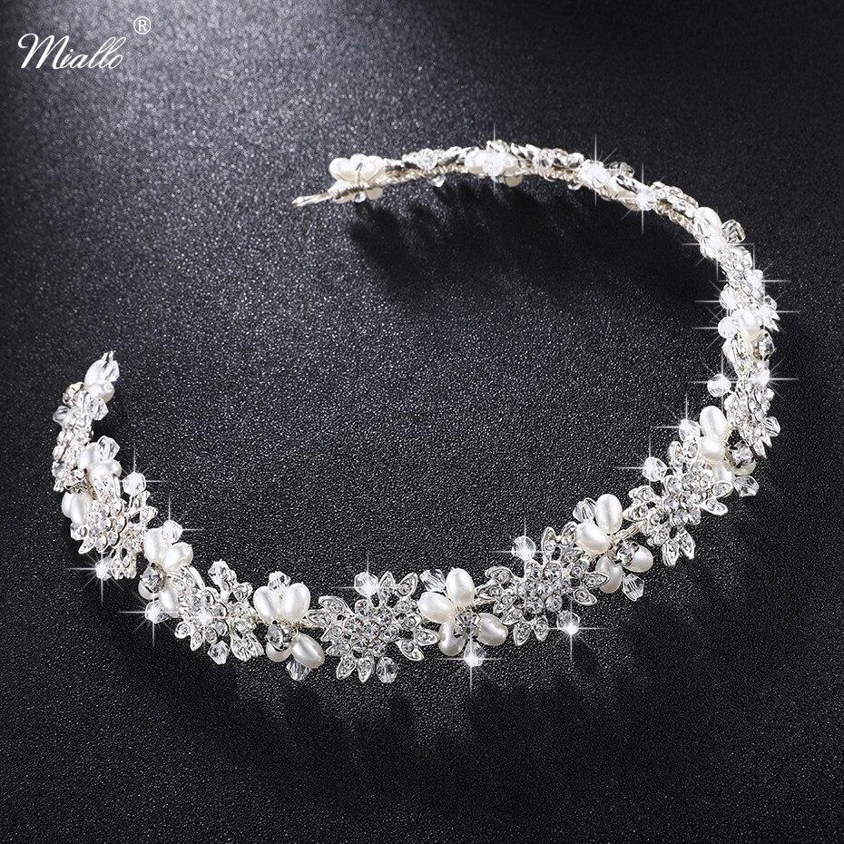 Miallo lujo cristalina clara nupcial de la vid del pelo perlas boda pelo joyería accesorios Headpiece mujeres coronas Pageant HS-J4506