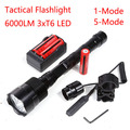 Sets Powerful Tactical Flashlight 6000Lm Anti-wolf XML 3xT6 LED 18650 Lantern Torch+Battery+Charger+Remote Switch+Gun Mount