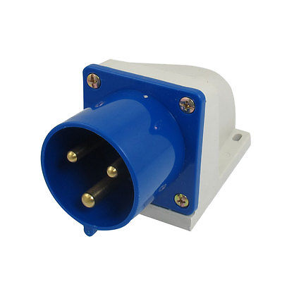 32A 3P+E IEC309-2 Industrial Panel Mount Plug Connector Blue White