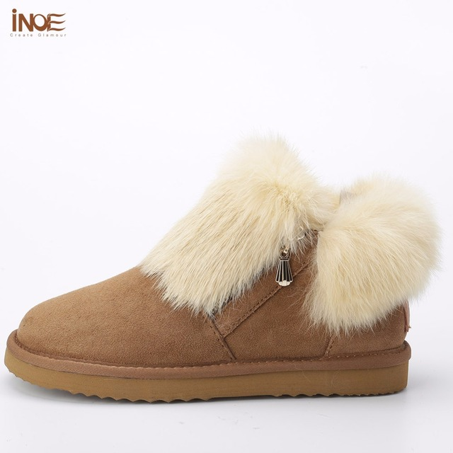 INOE fashion Genuine Sheepskin Leather Suede Women Shoes