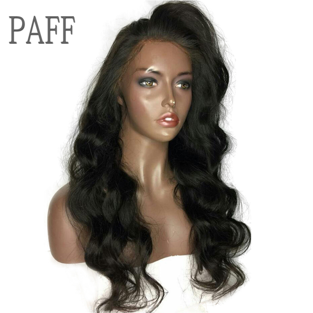 36C Body Wave Human Hair Lace Front Wigs Glueless Non-remy Hair With Side Part Long Natural Black Color Hair Wig For Black Women