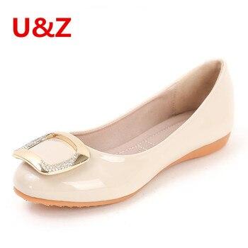Hermosos cristales cuadrados hebilla trim elegante moda ballet pisos partido mujeres Jeans/faldas Beige/rosa/negro brillante charol zapatos